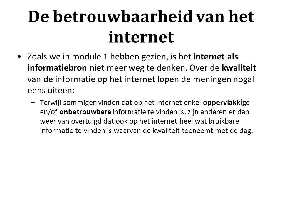 De betrouwbaarheid van het internet