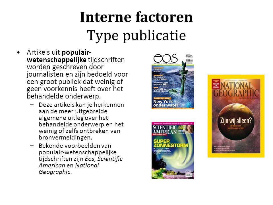 Interne factoren Type publicatie