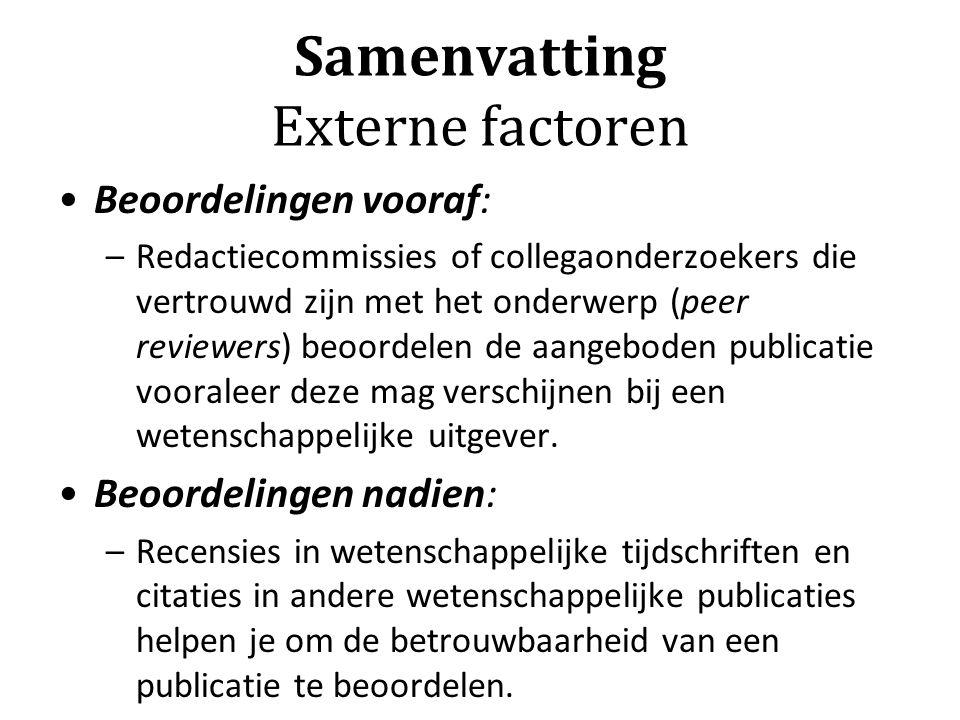 Samenvatting Externe factoren