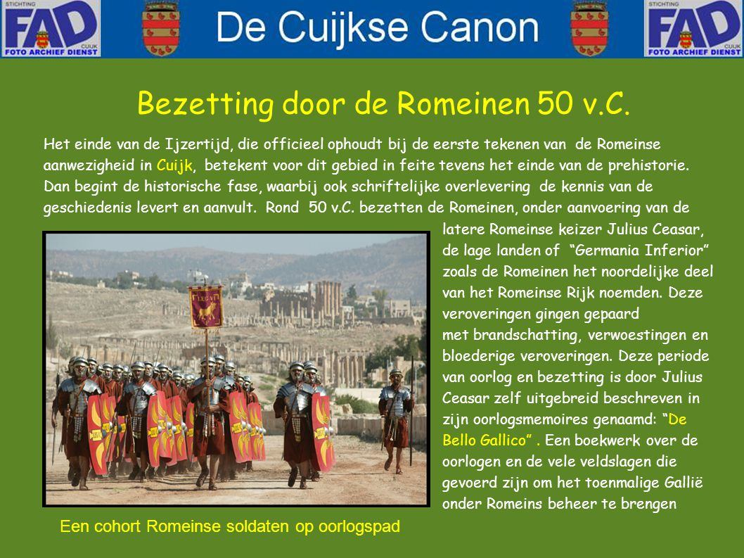 Bezetting door de Romeinen 50 v.C.
