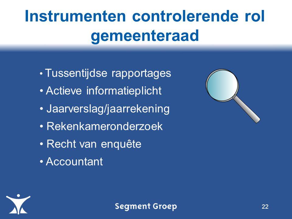 Instrumenten controlerende rol gemeenteraad