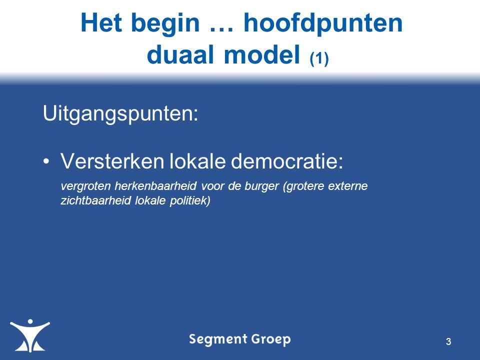 Het begin … hoofdpunten duaal model (1)
