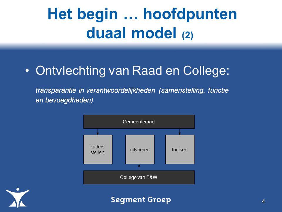 Het begin … hoofdpunten duaal model (2)