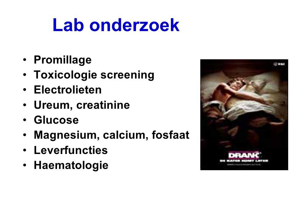 Lab onderzoek Promillage Toxicologie screening Electrolieten