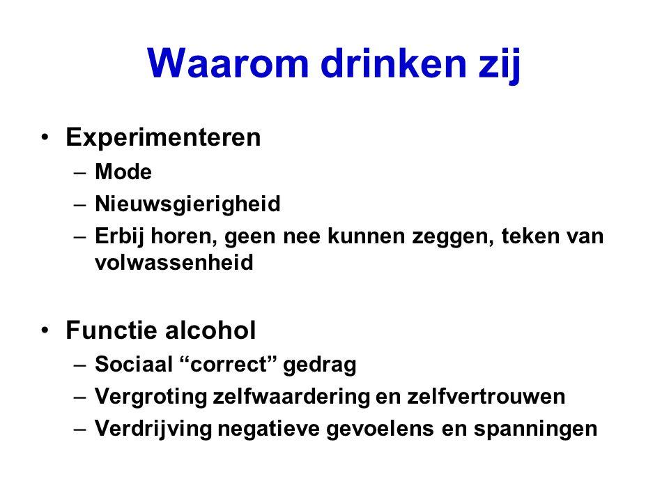 Waarom drinken zij Experimenteren Functie alcohol Mode