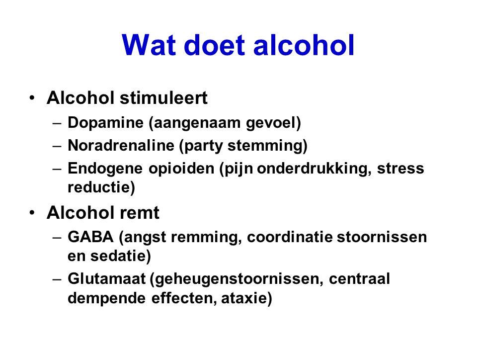 Wat doet alcohol Alcohol stimuleert Alcohol remt