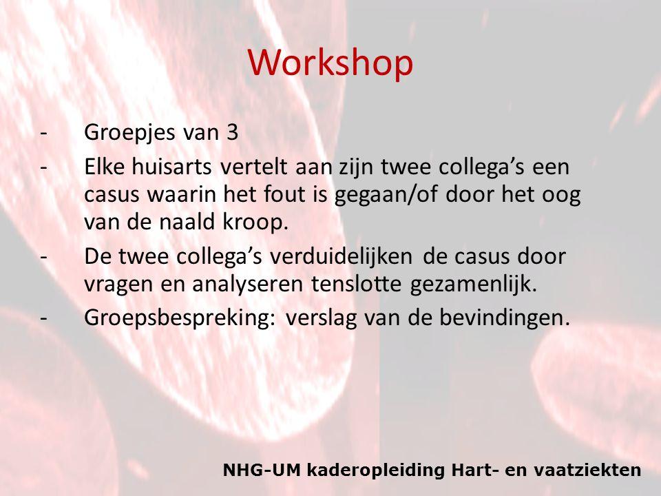Workshop Groepjes van 3. Elke huisarts vertelt aan zijn twee collega's een casus waarin het fout is gegaan/of door het oog van de naald kroop.