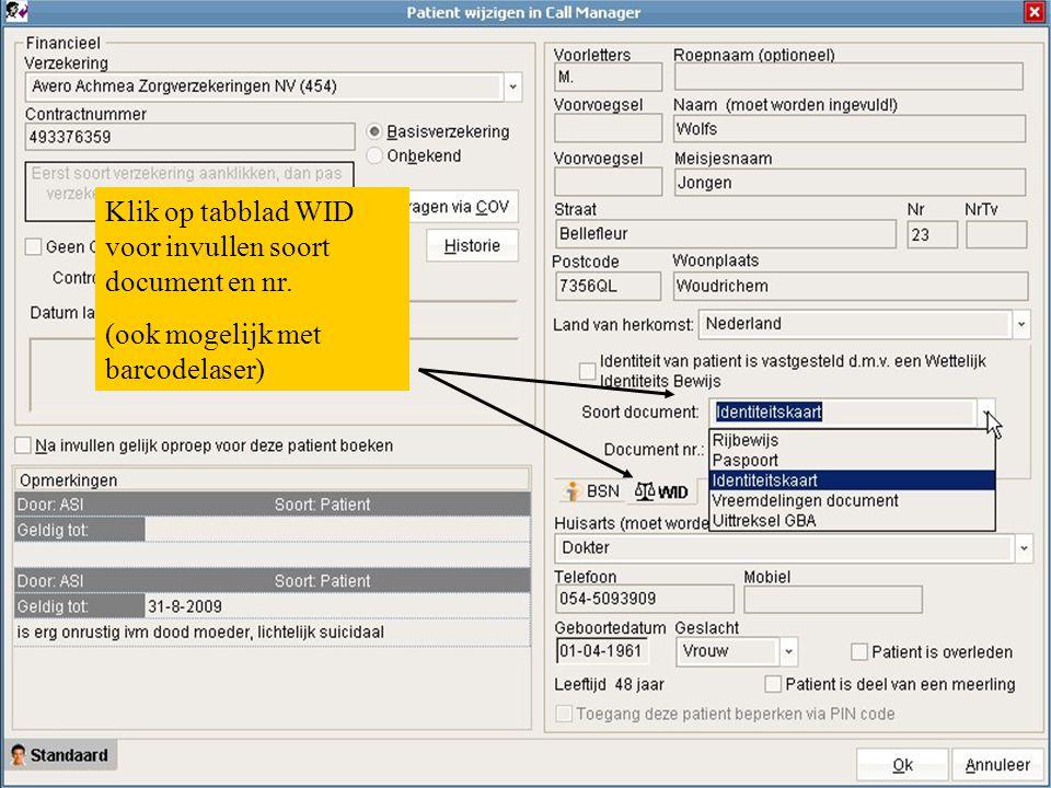 Klik op tabblad WID voor invullen soort document en nr.