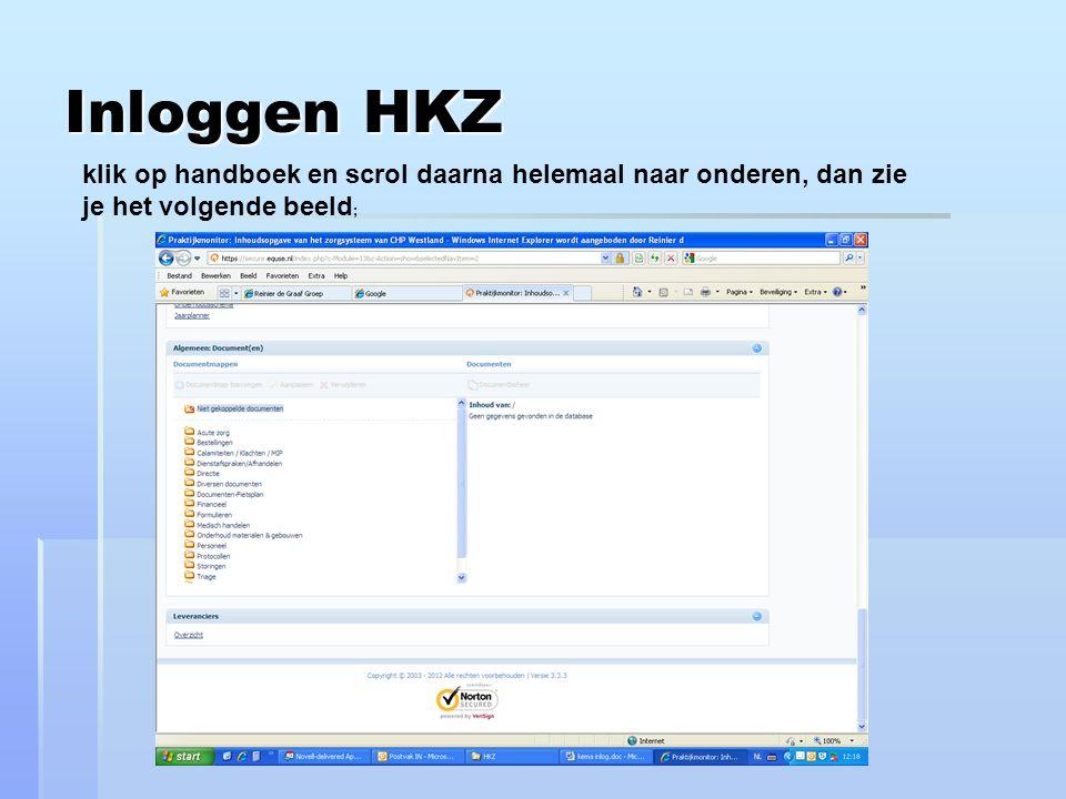Inloggen HKZ klik op handboek en scrol daarna helemaal naar onderen, dan zie je het volgende beeld;