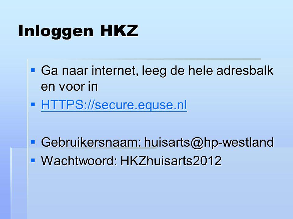 Inloggen HKZ Ga naar internet, leeg de hele adresbalk en voor in