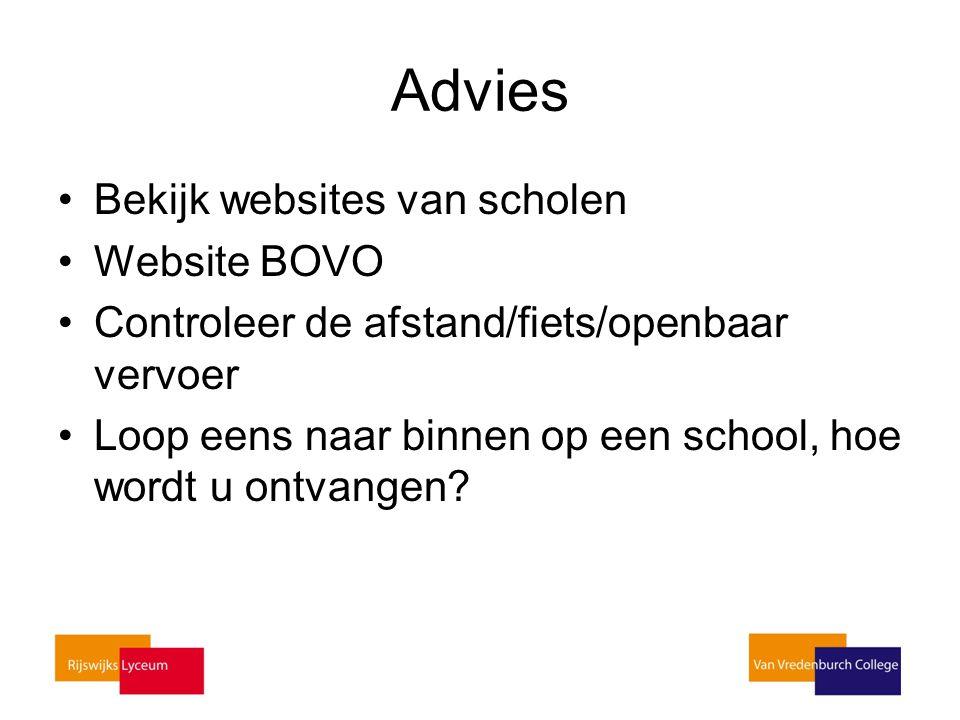 Advies Bekijk websites van scholen Website BOVO