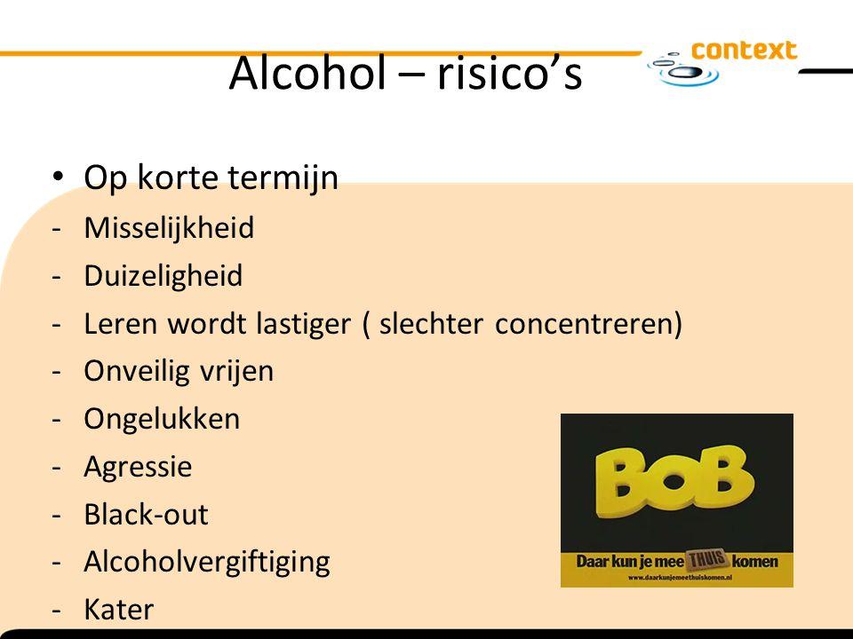 Alcohol – risico's Op korte termijn Misselijkheid Duizeligheid