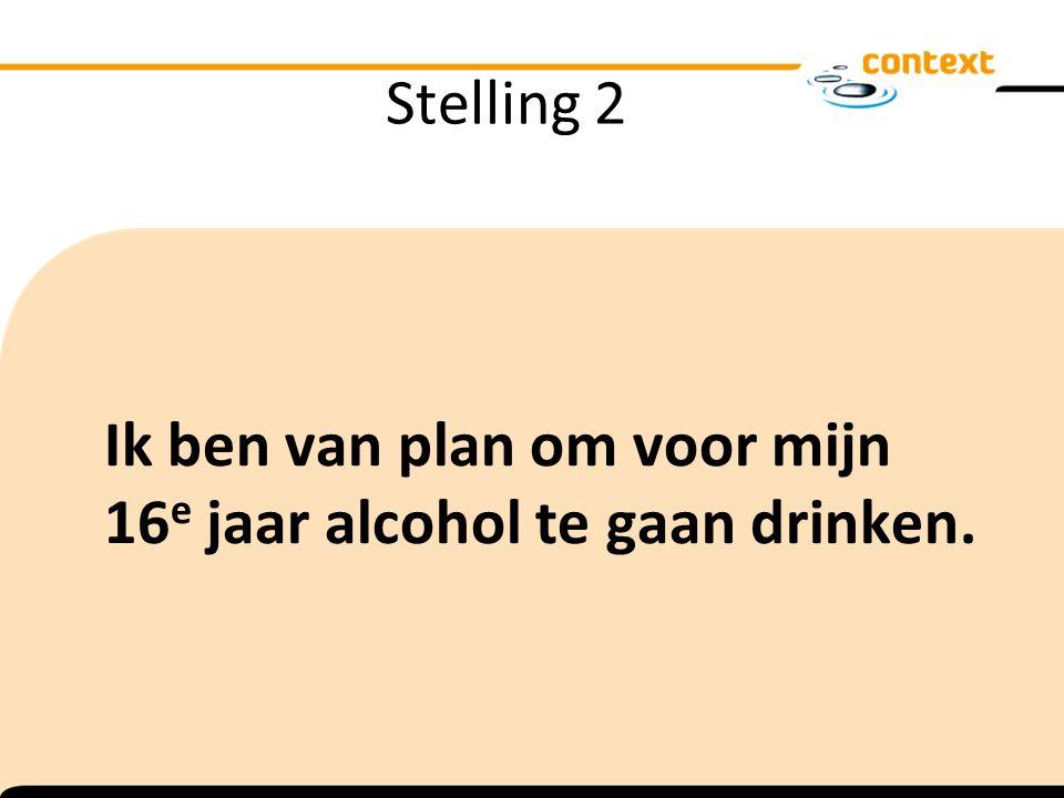 Stelling 2 Ik ben van plan om voor mijn 16e jaar alcohol te gaan drinken.