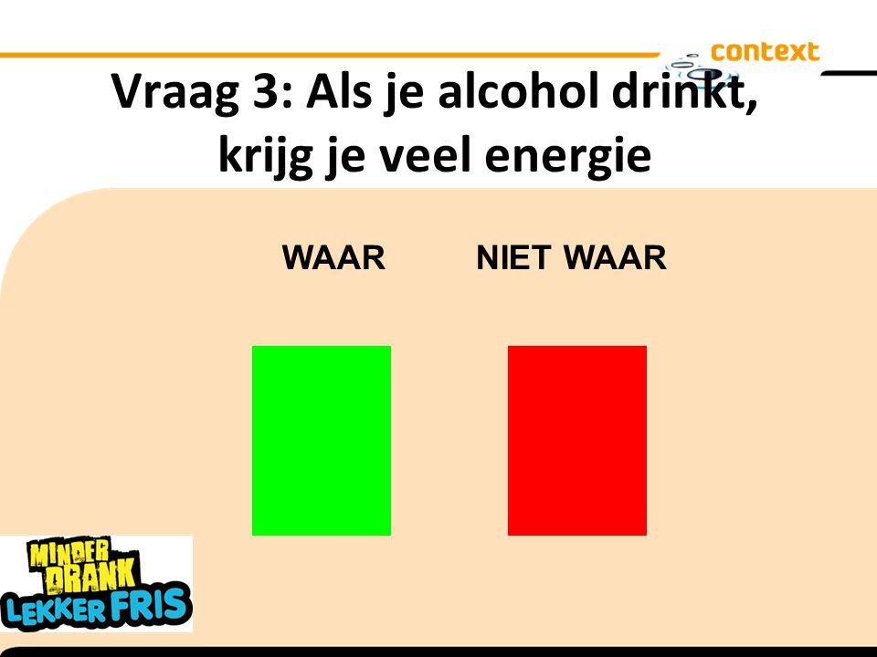 Vraag 3: Als je alcohol drinkt, krijg je veel energie