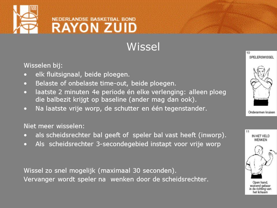 Wissel Wisselen bij: elk fluitsignaal, beide ploegen.