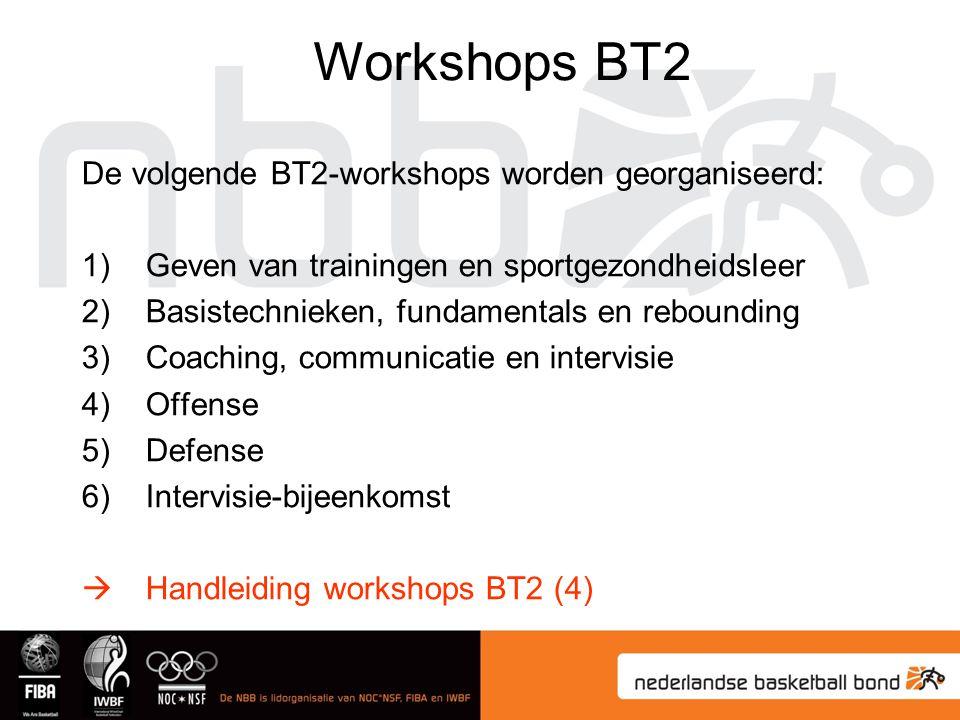 Workshops BT2 De volgende BT2-workshops worden georganiseerd: