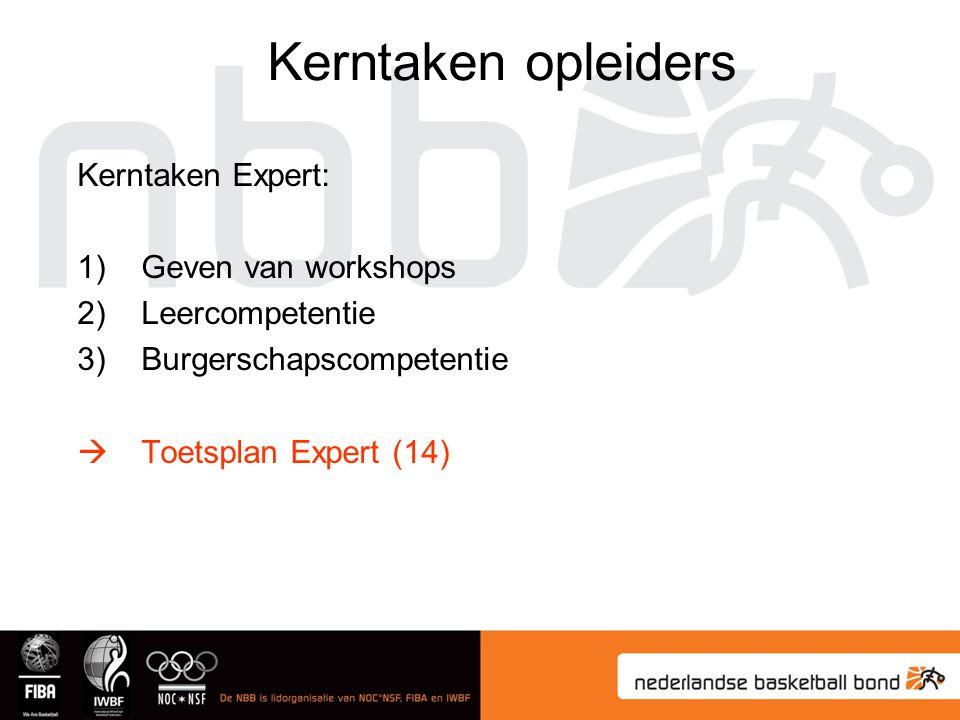 Kerntaken opleiders Kerntaken Expert: Geven van workshops