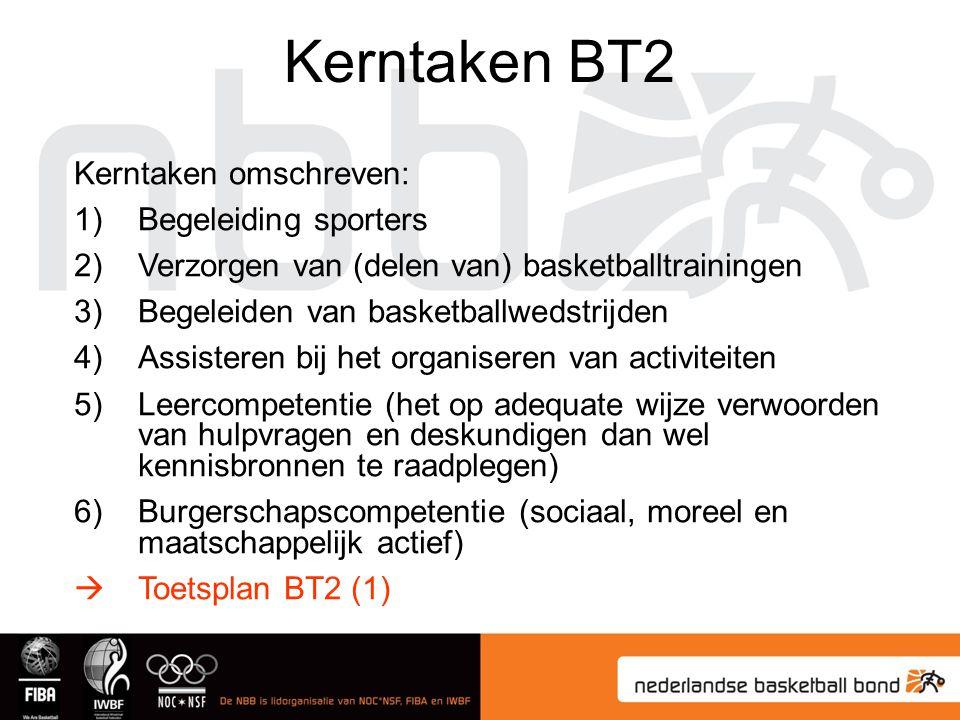 Kerntaken BT2 Kerntaken omschreven: Begeleiding sporters