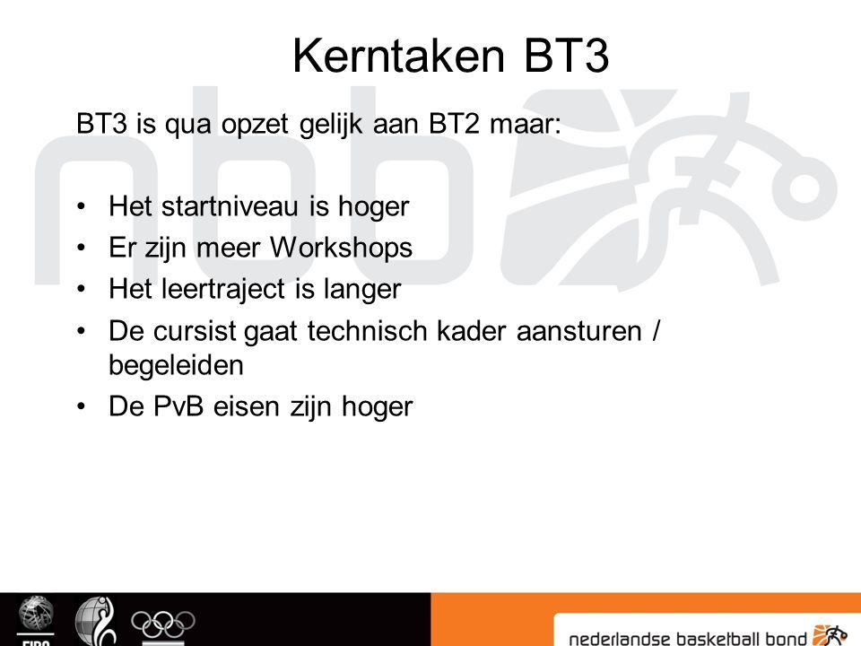 Kerntaken BT3 BT3 is qua opzet gelijk aan BT2 maar: