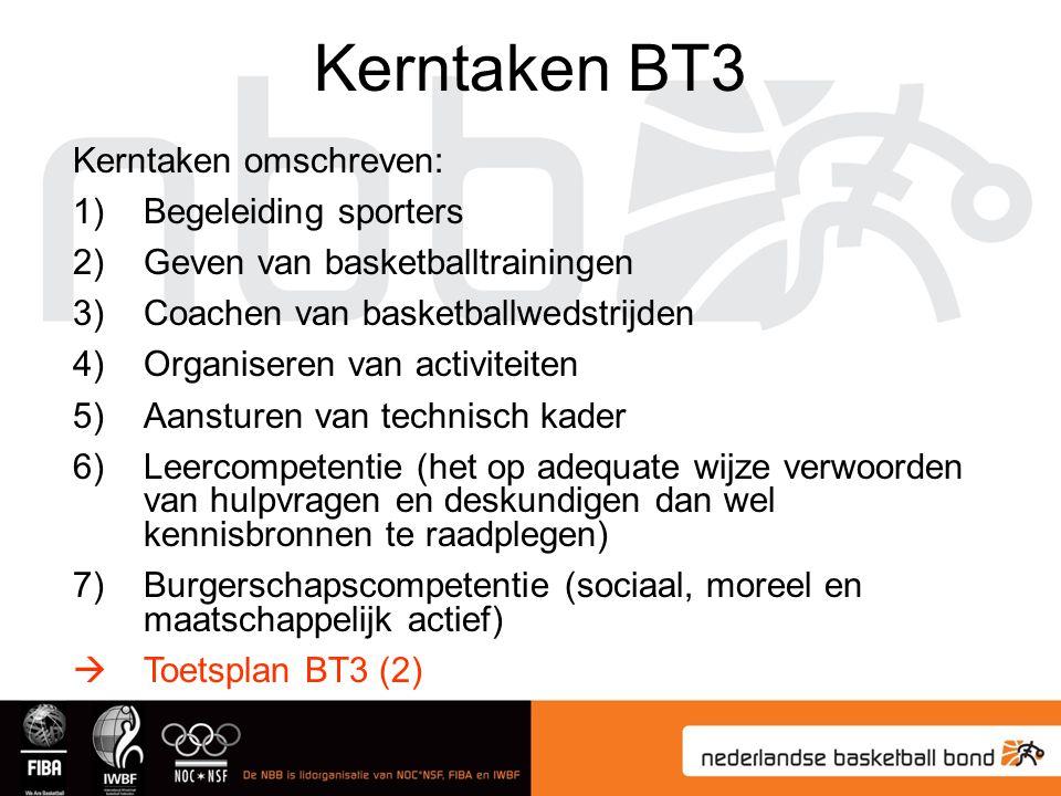 Kerntaken BT3 Kerntaken omschreven: Begeleiding sporters