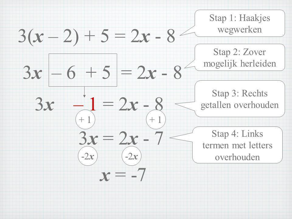 3(x – 2) + 5 = 2x - 8 3x – 6 + 5 = 2x - 8 3x – 1 = 2x - 8 3x = 2x - 7
