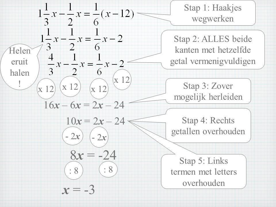 8x = -24 x = -3 16x – 6x = 2x – 24 10x = 2x – 24 Stap 1: Haakjes