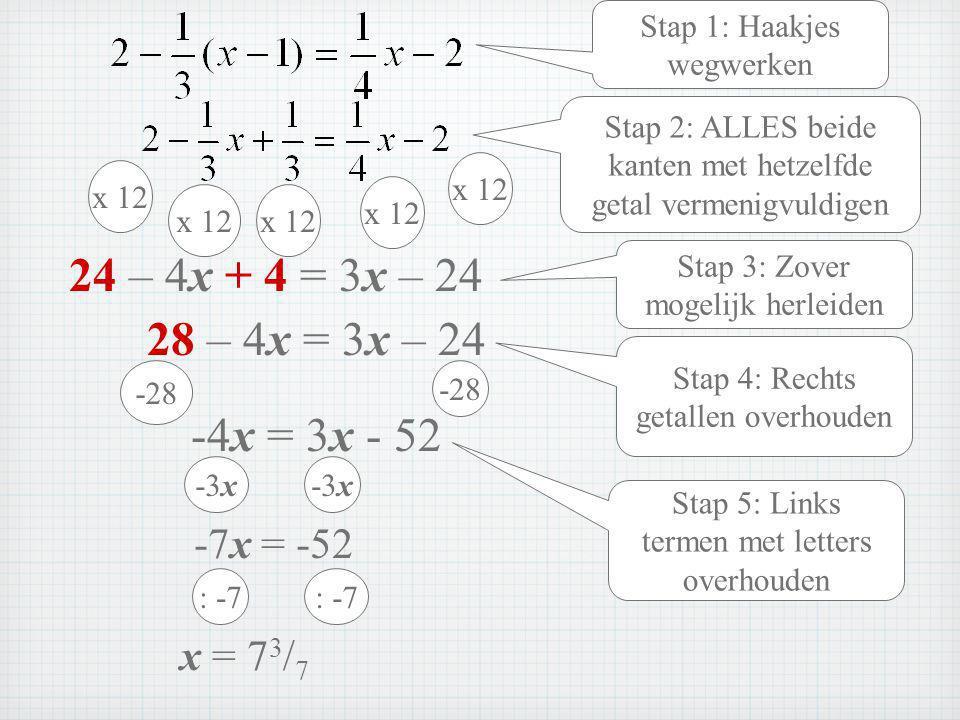 24 – 4x + 4 = 3x – 24 28 – 4x = 3x – 24 -4x = 3x - 52 -7x = -52