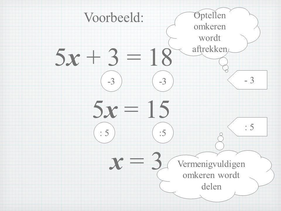 5x + 3 = 18 5x = 15 x = 3 Voorbeeld: Optellen omkeren wordt aftrekken