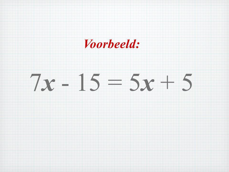 Voorbeeld: 7x - 15 = 5x + 5