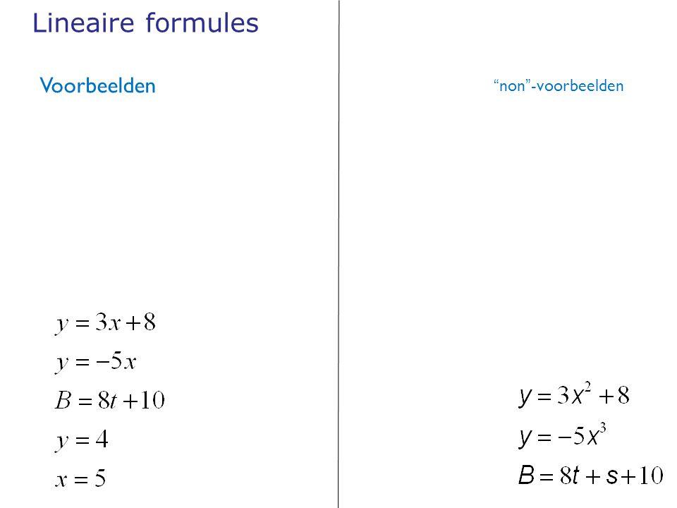 Lineaire formules Voorbeelden non -voorbeelden