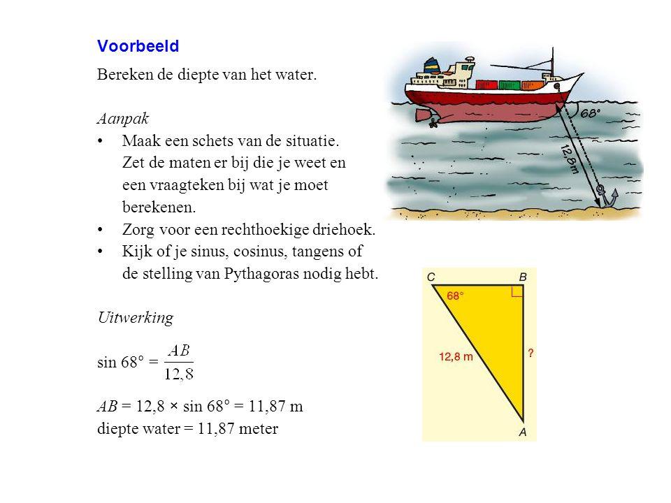 Voorbeeld Bereken de diepte van het water. Aanpak. Maak een schets van de situatie. Zet de maten er bij die je weet en.