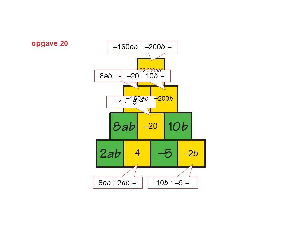 –20 4 –2b opgave 20 –160ab · –200b = 8ab · –20 = –20 · 10b = 4 · –5 =