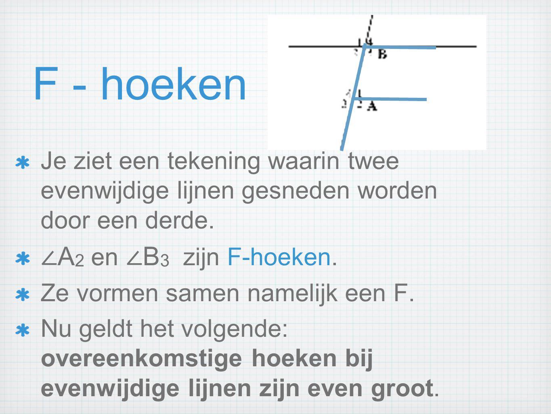 F - hoeken ∠A2 en ∠B3 zijn F-hoeken.