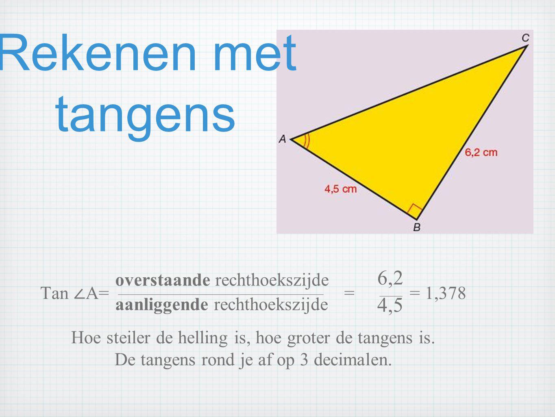 Rekenen met tangens 6,2 4,5 overstaande rechthoekszijde