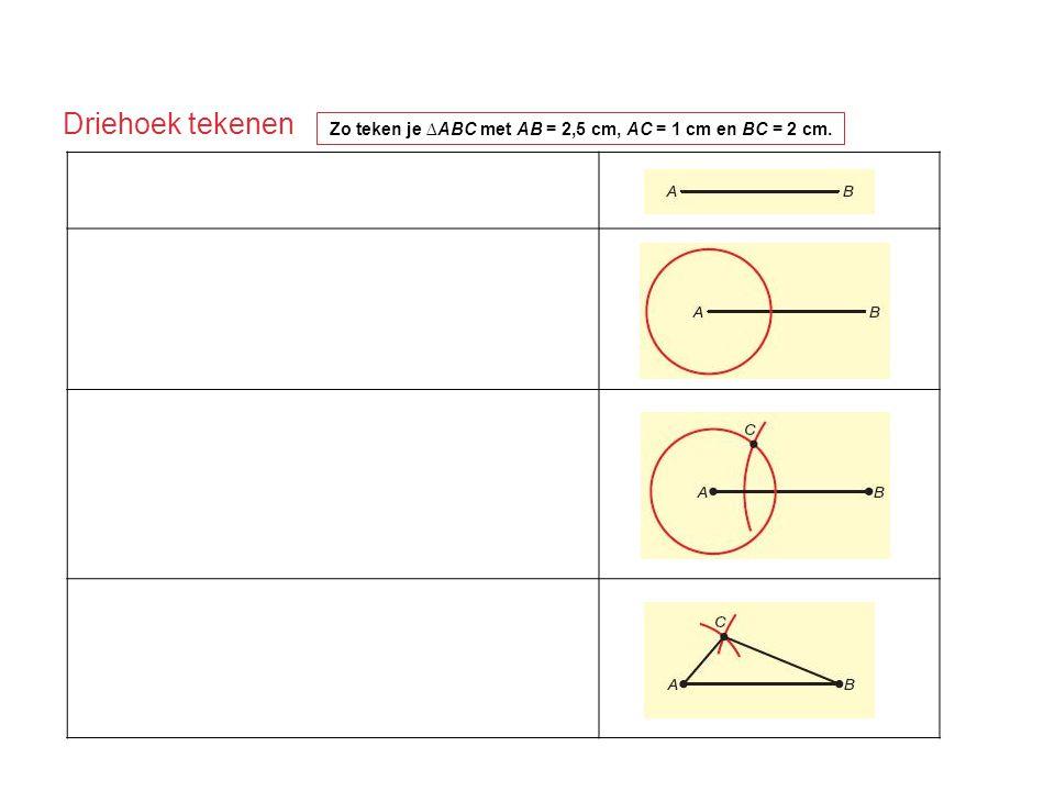 Zo teken je ∆ABC met AB = 2,5 cm, AC = 1 cm en BC = 2 cm.