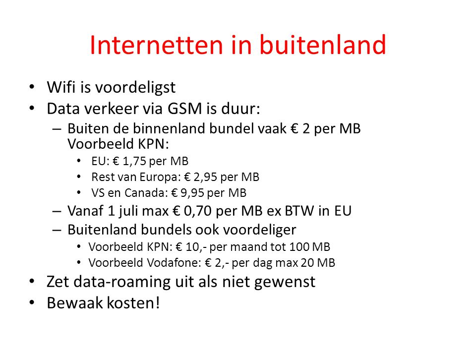 Internetten in buitenland