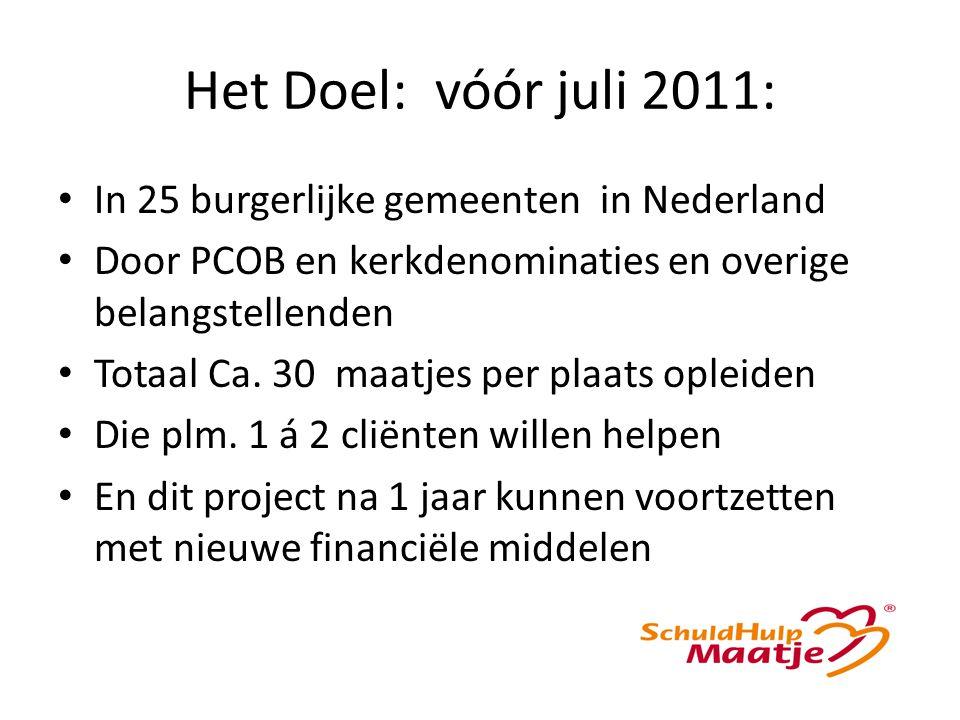 Het Doel: vóór juli 2011: In 25 burgerlijke gemeenten in Nederland