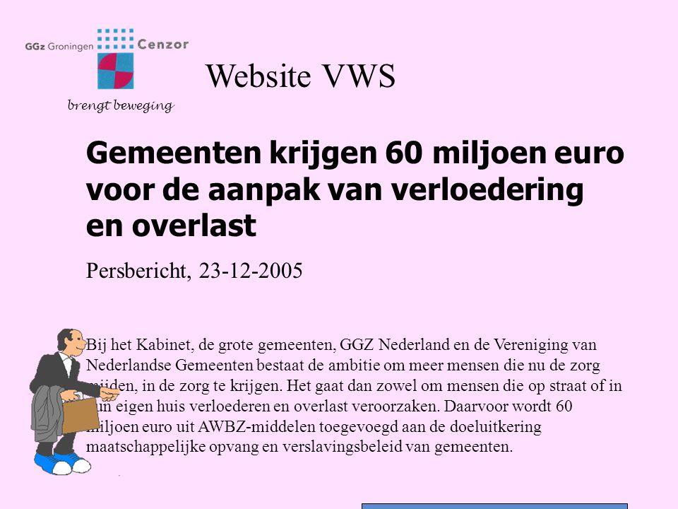 Website VWS brengt beweging. Gemeenten krijgen 60 miljoen euro voor de aanpak van verloedering en overlast.