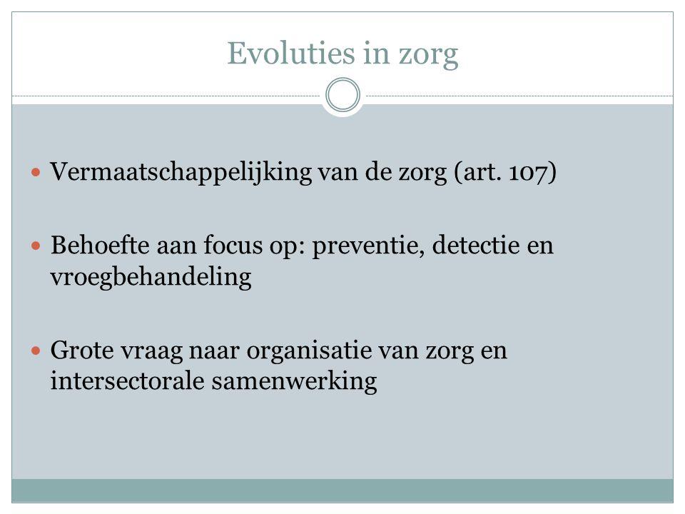 Evoluties in zorg Vermaatschappelijking van de zorg (art. 107)