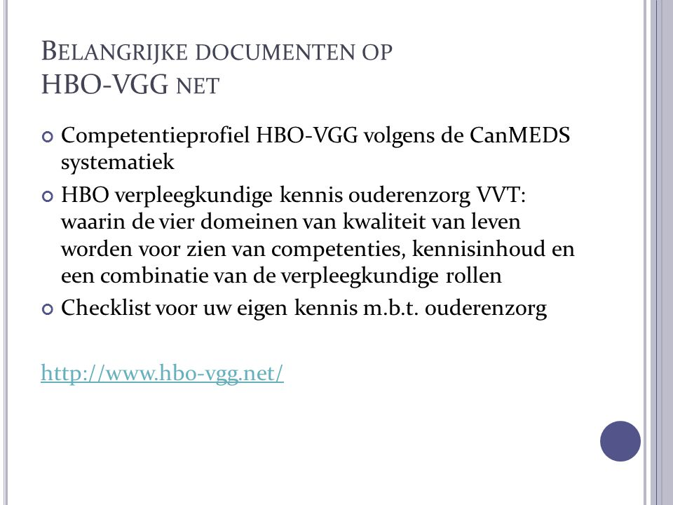 Belangrijke documenten op HBO-VGG net