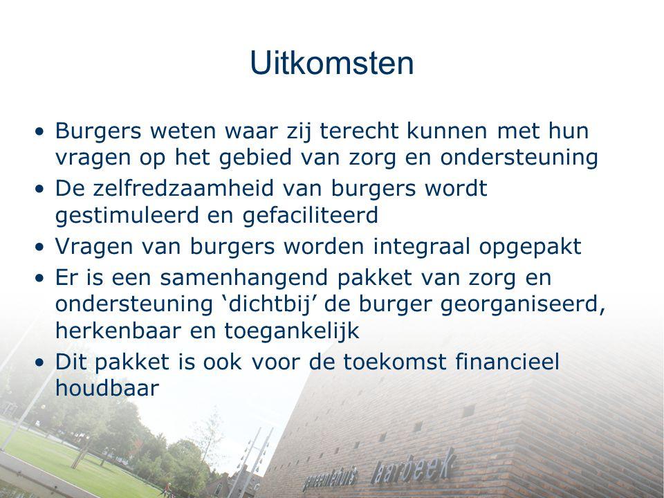 Uitkomsten Burgers weten waar zij terecht kunnen met hun vragen op het gebied van zorg en ondersteuning.