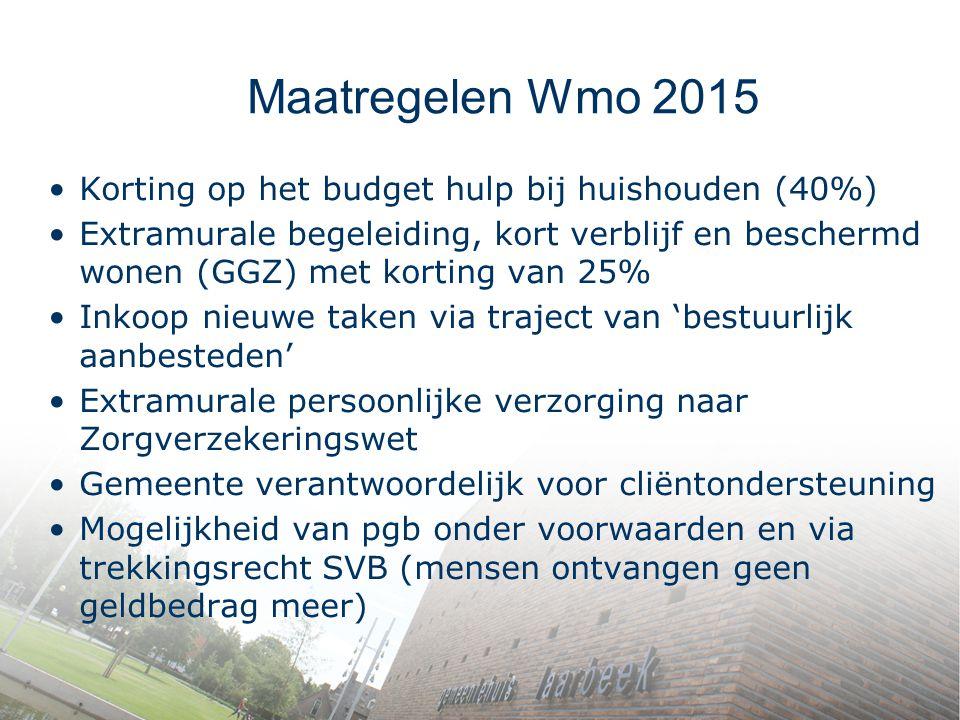 Maatregelen Wmo 2015 Korting op het budget hulp bij huishouden (40%)