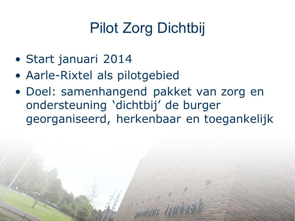 Pilot Zorg Dichtbij Start januari 2014 Aarle-Rixtel als pilotgebied