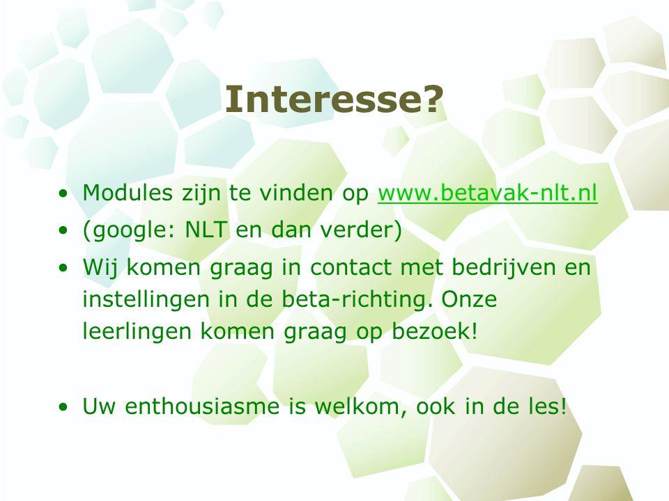 Interesse Modules zijn te vinden op www.betavak-nlt.nl
