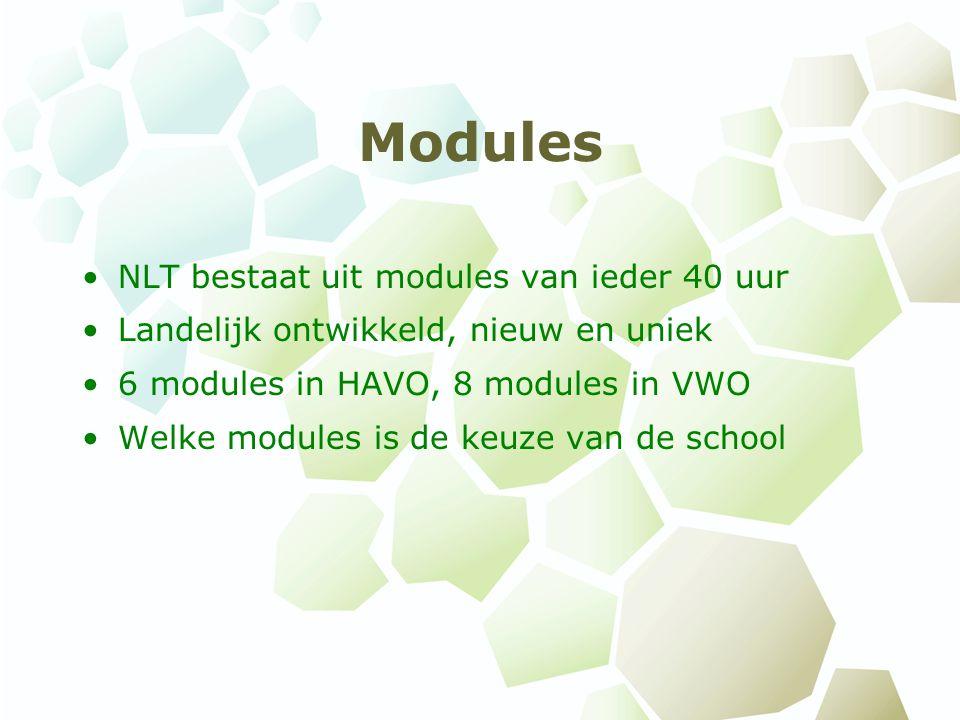 Modules NLT bestaat uit modules van ieder 40 uur