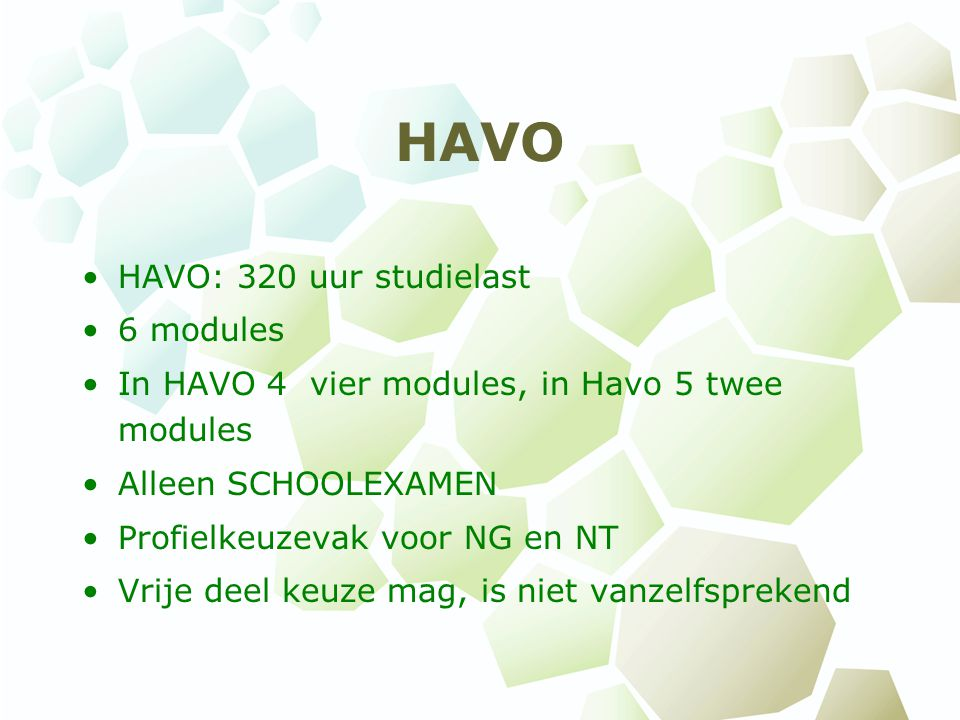 HAVO HAVO: 320 uur studielast 6 modules