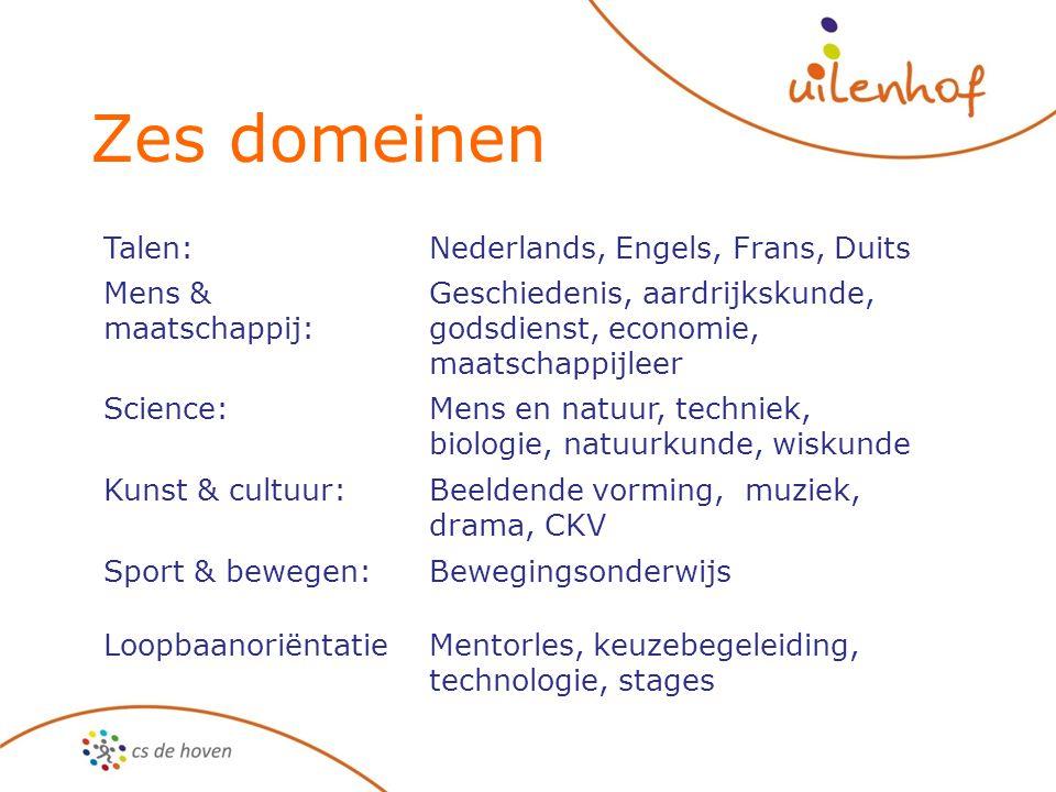Zes domeinen Talen: Nederlands, Engels, Frans, Duits