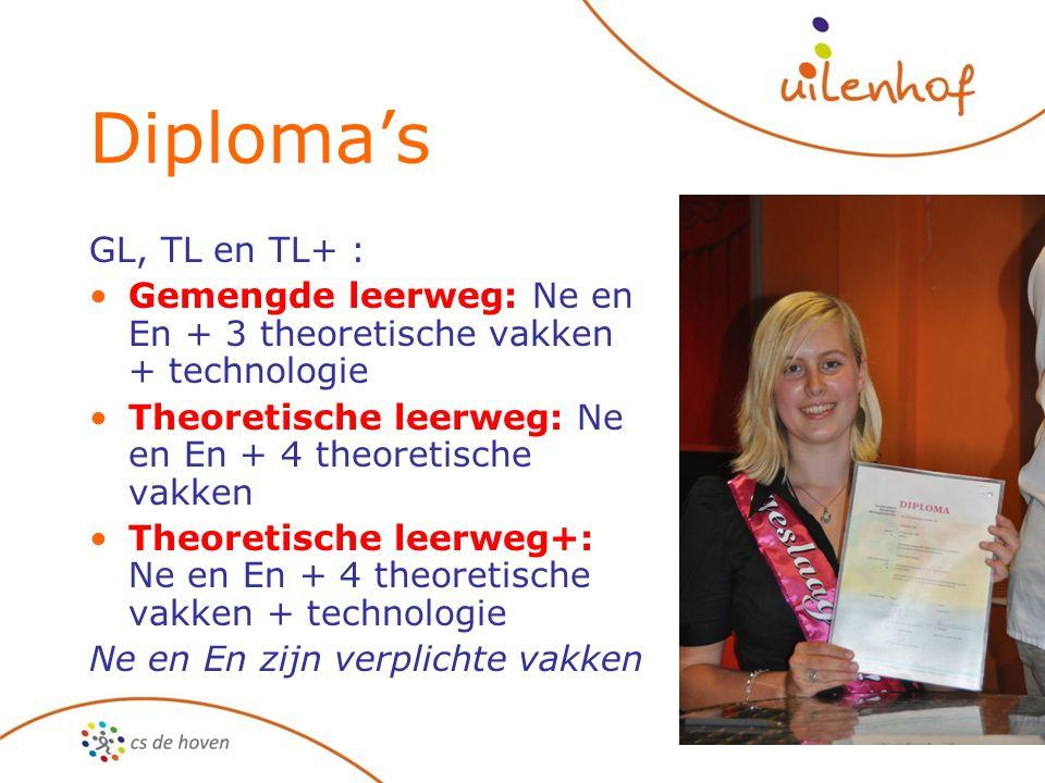 Diploma's GL, TL en TL+ : Gemengde leerweg: Ne en En + 3 theoretische vakken + technologie. Theoretische leerweg: Ne en En + 4 theoretische vakken.