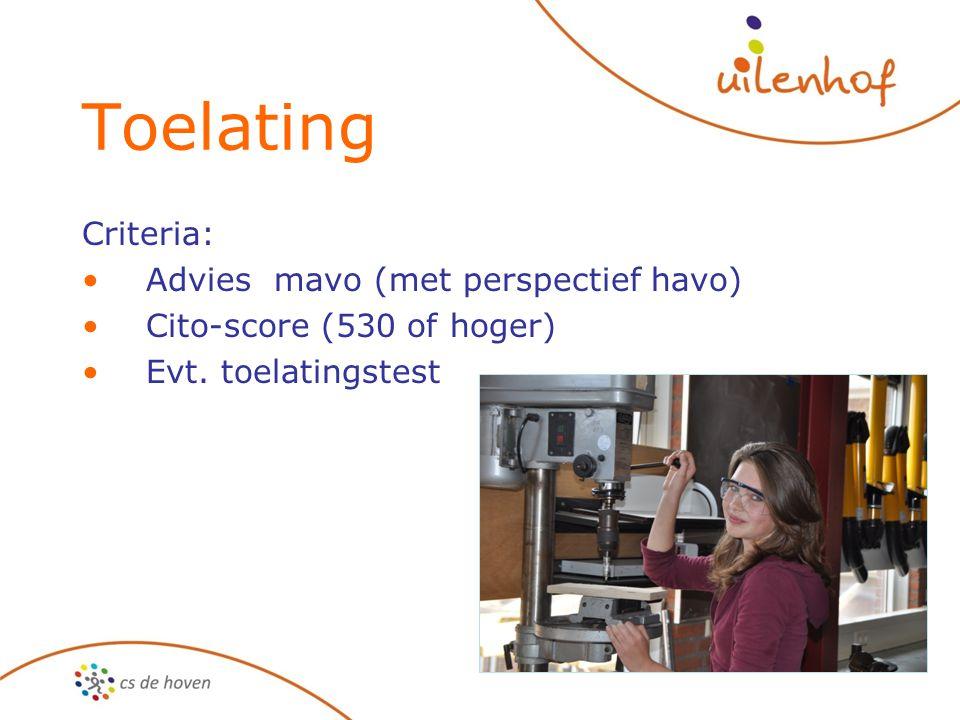 Toelating Criteria: Advies mavo (met perspectief havo)
