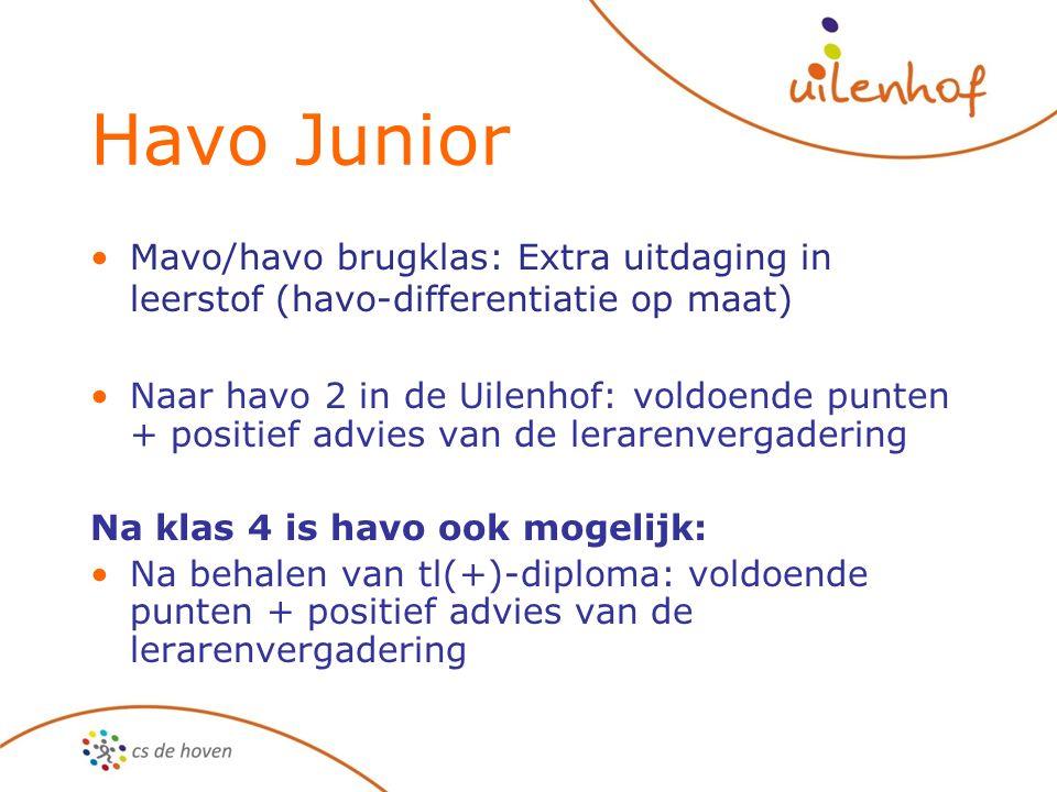 Havo Junior Mavo/havo brugklas: Extra uitdaging in leerstof (havo-differentiatie op maat)